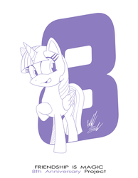 Size: 1086x1400 | Tagged: alicorn, anniversary, artist:fuzon-s, happy, happy birthday mlp:fim, mlp fim's eighth anniversary, monochrome, part of a set, pony, pony channel, safe, sketch, solo, style emulation, twilight sparkle, twilight sparkle (alicorn), yuji uekawa style