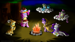Size: 4562x2600 | Tagged: applejack, artist:instant-noodle5, bipedal, campfire, chancellor puddinghead, cloud, clover the clever, commander hurricane, evil enchantress, fire, fluttershy, mane six, pinkie pie, pony, princess platinum, private pansy, prone, rainbow dash, rarity, safe, smart cookie, tree, twilight sparkle