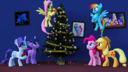 Size: 3840x2160 | Tagged: 3d, alicorn, applejack, artist:marcelexe, christmas, christmas tree, fluttershy, holiday, hug, mane six, pinkie pie, pony, princess luna, rainbow dash, rarity, safe, starlight glimmer, tree, twilight sparkle, twilight sparkle (alicorn)
