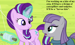 Size: 750x450 | Tagged: cropped, dialogue, edit, edited screencap, kite, maud pie, pun, rock solid friendship, safe, screencap, starlight glimmer, that pony sure does love kites, that pony sure does love rocks