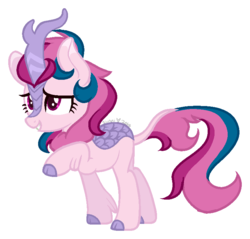 Size: 761x728 | Tagged: safe, artist:sundancedraws, oc, oc:soft surprise, kirin, cloven hooves, colored hooves, female, kirin oc, raised hoof, simple background, solo, transparent background