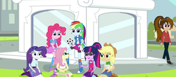 Size: 1600x706 | Tagged: applejack, artist:thomaszoey3000, dog, equestria girls, fanfic, fluttershy, football, humane five, humane six, oc, oc:cupcake slash, old style, pinkie pie, rainbow dash, rarity, safe, sci-twi, spike, spike the regular dog, sports, twilight sparkle