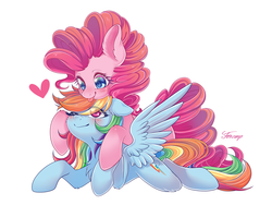 Size: 4000x3000 | Tagged: artist:foxcarp, cute, female, hnnng, lesbian, mare, pinkiedash, pinkie pie, pony, rainbow dash, safe, shipping, smiling