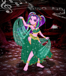 Size: 2551x2923 | Tagged: safe, artist:invisibleguy-ponyman, aria blaze, equestria girls, anklet, arabian nights, armlet, armpits, barefoot, beautiful, bedroom eyes, belly button, belly dancer, belly dancer outfit, bracelet, dancing, ear piercing, earring, eyeshadow, feet, female, gem, harem outfit, jewelry, leg bracelet, loincloth, looking at you, makeup, midriff, music notes, piercing, siren gem, solo, veil