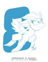 Size: 1086x1400 | Tagged: anniversary, artist:fuzon-s, flying, happy birthday mlp:fim, mlp fim's eighth anniversary, monochrome, part of a set, pegasus, pony, pony channel, rainbow dash, safe, sketch, smiling, solo, style emulation, yuji uekawa style