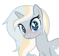 Size: 661x627 | Tagged: artist:ipandacakes, blushing, female, mare, oc, oc:moonbeam, oc only, offspring, parent:prince blueblood, parents:bluetrix, parent:trixie, pony, safe, simple background, solo, transparent background, unicorn