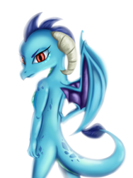 Size: 2072x2761 | Tagged: artist:qbellas, dragon, princess ember, safe, simple background, solo