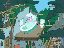 Size: 1067x800 | Tagged: safe, edit, edited screencap, editor:clumsycoon, screencap, starlight glimmer, pony, unicorn, father knows beast, bad edit, bath, bathroom, bathtub, bathtub gag, bubble, cleveland brown, destroyed building, falling, family guy, female, hat, low quality, no no no no no no no, obtrusive watermark, random, reference, shower cap, sliding, soap, soap bubble, solo, toilet, towel, watermark, wet mane