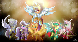 Size: 3840x2095 | Tagged: safe, artist:zidanemina, apple bloom, diamond tiara, scootaloo, silver spoon, sunset shimmer, sweetie belle, earth pony, pegasus, pony, unicorn, anime crossover, armor, crossover, cutie mark crusaders, female, filly, god cloth, mare, saint seiya