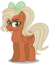 Size: 664x874 | Tagged: artist:skittleartmlp, female, hairband, mare, oc, oc:big brown apple, offspring, parent:big macintosh, parent:fluttershy, parents:fluttermac, safe, simple background, solo, transparent background