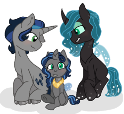 Size: 572x528 | Tagged: artist:romans-nerd-art, changepony, chrysombra, family, female, hybrid, interspecies offspring, king sombra, male, offspring, parent:king sombra, parent:queen chrysalis, parents:chrysombra, queen chrysalis, safe, shipping, straight