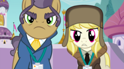 Size: 1440x809 | Tagged: clothes, duo, earth pony, female, frown, hat, jacket, joe pescolt, male, march gustysnows, mare, name tag, necktie, pony, princess spike (episode), safe, screencap, stallion
