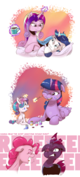 Size: 1400x3063 | Tagged: safe, artist:saturdaymorningproj, pinkie pie, princess cadance, princess flurry heart, shining armor, tempest shadow, twilight sparkle, alicorn, earth pony, pony, unicorn, aunt and niece, baby, baby pony, broken horn, comic, cute, eye scar, eyes closed, female, filly, floppy ears, flurrybetes, foal, glowing horn, gritted teeth, horn, husband and wife, levitation, lying down, magic, male, mare, most annoying sound in the world, mug, one eye closed, open mouth, pillow, prone, reeee, scar, shiningcadance, shipping, sitting, sparking horn, stallion, straight, teeth, telekinesis, twiabetes, twilight sparkle (alicorn), wings