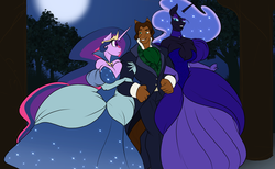 Size: 3900x2400 | Tagged: safe, artist:toughset, nightmare moon, princess celestia, twilight sparkle, oc, oc:wes franklin, alicorn, anthro, horse, alicornified, canon x oc, clothes, dress, female, forest, fusion, gown, moon, non-pony oc, race swap, sexy, shipping, stupid sexy nightmare moon, stupid sexy twilight, twilight sparkle (alicorn)