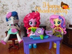 Size: 1600x1200   Tagged: safe, artist:whatthehell!?, bon bon, fluttershy, pinkie pie, spike, sweetie drops, dog, equestria girls, chair, clothes, dead, dinner, doll, equestria girls minis, female, food, holiday, irl, kitchen, kitchen furniture, knife, male, parody, photo, rope, shoes, skirt, spike the dog, stove, table, thanksgiving, tied up, toy, x eyes