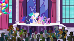Size: 1440x810 | Tagged: alicorn, alicorn tetrarchy, background pony, background pony audience, bittersweet (character), blues, cerulean skies, clothes, cloud kicker, colton john, cosmic (character), crystal pony, daisy, dark moon, doctor whooves, dragon, earth pony, emerald green, ethereal mane, female, fleur de verre, flower wishes, fluffy clouds, free throw, galena, goldengrape, grand equestria pony summit, graphite, green gem, griffon, hat, jewelry, joe pescolt, leadwing, lemon hearts, levon song, lightning bolt, linky, luckette, lucky breaks, lucky clover, lyra heartstrings, male, march gustysnows, mare, marge gunderson, neigh sayer, noteworthy, pegasus, pinot noir, pony, princess cadance, princess celestia, princess luna, princess spike (episode), safe, screencap, shiraz, shoeshine, silver berry, sir colton vines iii, size comparison, size difference, spike, spread wings, stage, stallion, starry mane, sunshower raindrops, tiara, time turner, tropical dream, twilight sparkle, twilight sparkle (alicorn), unicorn, white lightning, wings, written script, yuma spurs