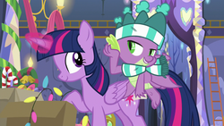 Size: 1280x720 | Tagged: alicorn, best gift ever, christmas, christmas lights, clothes, dragon, duo, female, glowing horn, hat, holiday, magic, male, mare, pony, safe, scarf, screencap, spike, stupid sexy spike, telekinesis, twilight sparkle, twilight sparkle (alicorn), winged spike