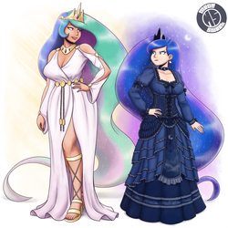 Size: 1925x1925 | Tagged: artist:king-kakapo, artist:megasweet, belt, blue dress, breasts, busty princess celestia, busty princess luna, choker, cleavage, clothes, collaboration, corset, crown, dress, duo, duo female, feet, female, frilly dress, height difference, human, human female, humanized, jewelry, light skin, lipstick, looking at each other, nail polish, princess celestia, princess luna, regalia, safe, sandals, simple background, toenail polish, toes, white dress