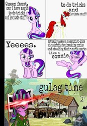 Size: 800x1155   Tagged: safe, edit, editor:clumsycoon, starlight glimmer, oc, oc:fausticorn, alicorn, human, pony, unicorn, alicorn oc, bad edit, clothes, commie, commie glimmer, communism, communism is magic, crossed legs, damn commies, dank, dank memes, deep fried meme, desert, equal sign, equality, evil starlight, eye beams, flag, glowing eyes, glowing eyes meme, gulag, gulaged, josef stalin, lauren faust, low quality, meme, our town, ponified meme, prisoner, queen faust, red star, s5 starlight, smiling, stalin glimmer, uniform, village, watermark, welcome home twilight