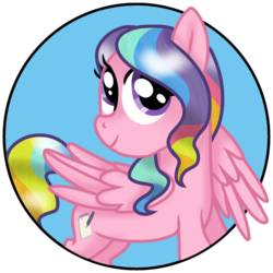Size: 768x768 | Tagged: artist:awoomarblesoda, female, filly, oc, oc:rainbow flare, pegasus, pony, safe, solo