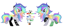 Size: 1024x468 | Tagged: safe, artist:mintoria, artist:space--paws0w0, oc, oc only, oc:pastel chole, alicorn, pony, alicorn oc, bandana, boots, female, freckles, heterochromia, mare, markings, rainbow hair, reference sheet, scene kid, shoes, simple background, solo, tattoo, transparent background