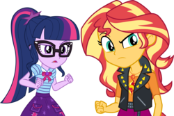 Size: 4492x3000   Tagged: safe, artist:cloudyglow, sci-twi, sunset shimmer, twilight sparkle, equestria girls, equestria girls series, rollercoaster of friendship, bowtie, clothes, duo, female, geode of empathy, geode of telekinesis, glasses, jacket, magical geodes, ponytail, serious, serious face, simple background, skirt, suspicious, transparent background, vector