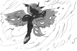 Size: 1024x683 | Tagged: artist:ladycookie, changeling, changeling oc, dancing, fire, flying, grayscale, monochrome, oc, oc:astroty, safe, spinning, storm, wings