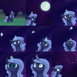 Size: 2880x2880 | Tagged: dead source, safe, artist:greyscaleart, princess luna, alicorn, butterfly, pony, comic, constellation freckles, distracted, female, filly, freckles, glowing horn, missing, mistakes were made, moon, moon work, shrunken pupils, solo, tongue out, woona, younger