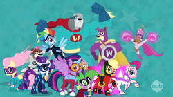 Size: 960x540 | Tagged: safe, artist:marcuvan0, edit, edited screencap, screencap, applejack, fili-second, fluttershy, humdrum, masked matter-horn, mistress marevelous, pinkie pie, radiance, rainbow dash, rarity, saddle rager, spike, twilight sparkle, zapp, alicorn, cookie (pound puppies), hub logo, lucky smarts, mane seven, mane six, niblet, pound puppies, power ponies, squirt, strudel, superhero, the watchdogs, twilight sparkle (alicorn)