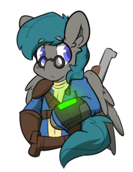 Size: 2550x3300 | Tagged: artist:bbsartboutique, fallout, glasses, male, oc, oc only, oc:vanguard velocity, pegasus, pipboy, pony, safe, stallion