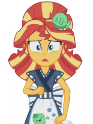 Size: 1536x2048 | Tagged: safe, edit, edited screencap, editor:lonely fanboy48, screencap, sunset shimmer, eqg summertime shorts, equestria girls, good vibes, spoiler:eqg specials, background removed, clothes, cute, food, happi, sunset sushi, sushi, worried