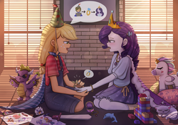Size: 1700x1200 | Tagged: applejack, artist:tcn1205, clothes, cute, daaaaaaaaaaaw, dragon, equestria girls, female, jackabetes, kneeling, lesbian, looking at each other, opalescence, plushie, raribetes, rarijack, rarity, ring, safe, shipping, smiling, weapons-grade cute