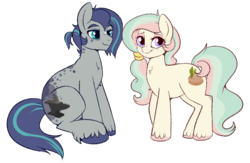 Size: 1000x652 | Tagged: safe, artist:lulubell, oc, oc only, oc:spark shower, oc:spring seedling, earth pony, pony, 's parents, celestia and luna's father, celestia and luna's mother, father, female, male, mare, mother, stallion