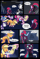 Size: 4750x7000 | Tagged: absurd res, adventure, alternate hairstyle, alternate timeline, alternate universe, alternate version, applejack, artist:chedx, captured, comic, comic:the storm kingdom, crystal of light, eye scar, fanfic, fantasy, fluttershy, general tempest shadow, glowing scar, implied twilight sparkle, magic, mane six, my little pony: the movie, pinkie pie, rainbow dash, rarity, safe, scar, spike, storm king, tempest shadow, the bad guy wins
