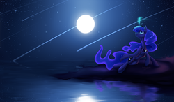 Size: 3600x2100 | Tagged: safe, artist:bronyseph, princess luna, alicorn, pony, cute, female, full moon, glowing horn, high res, looking up, lunabetes, magic, mare, moon, night, night sky, ocean, peytral, raised hoof, reflection, shooting star, shooting stars, signature, sky, smiling, solo, starry night, water