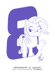 Size: 1086x1400 | Tagged: anniversary, artist:fuzon-s, female, happy birthday mlp:fim, lidded eyes, mare, mlp fim's eighth anniversary, monochrome, part of a set, pony, pony channel, raised hoof, rarity, safe, sketch, smiling, solo, style emulation, unicorn, yuji uekawa style