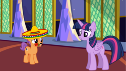 Size: 1383x778 | Tagged: safe, artist:jawsandgumballfan24, tender taps, twilight sparkle, alicorn, earth pony, pony, colt, facial hair, fake moustache, female, flower, male, mare, moustache, rose, shipping, sombrero, straight, twilight sparkle (alicorn), twitaps