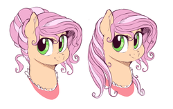 Size: 1280x808 | Tagged: safe, artist:sirmasterdufel, oc, oc only, oc:claire, earth pony, pony, bust, female, hair bun, loose hair, mare, simple background, solo, white background