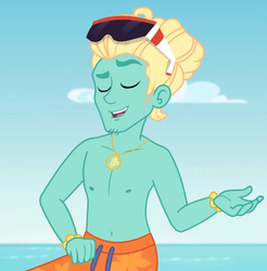 Size: 702x713 | Tagged: safe, screencap, zephyr breeze, blue crushed, equestria girls, equestria girls series, arms, bare arms, bare chest, clothes, cropped, eyes closed, jewelry, male, necklace, partial nudity, shorts, smiling, sunglasses, swimming trunks, topless, zephyr's necklace