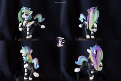 Size: 11136x7424 | Tagged: safe, artist:shuxer59, artist:yakovlev-vad, princess celestia, alicorn, pony, absurd resolution, alternate hairstyle, chest fluff, choker, clothes, collar, craft, female, figure, figurine, irl, jacket, leather jacket, looking at you, mare, metalestia, photo, polymer clay, raised hoof, sculpture, smiling, solo, spiked choker, spiked collar, spiked wristband, tail wrap, wristband