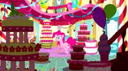Size: 1440x808   Tagged: safe, screencap, pinkie pie, earth pony, pony, do princesses dream of magic sheep, balloon, cake, dream, female, food, mare, marzipan mascarpone meringue madness, raised hoof, solo, sugarcube corner