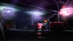 Size: 3840x2160 | Tagged: safe, rainbow dash, 3d, car, gas station, sitting, smoking, source filmmaker