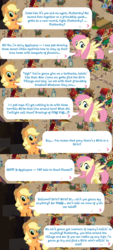 Size: 980x2176 | Tagged: applejack, dialogue, fluttershy, gameloft, implied autumn blaze, implied twilight sparkle, klugetown, lix spittle, my little pony: the movie, parrot pirates, pirate, safe, sounds of silence