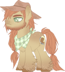 Size: 349x387 | Tagged: artist:sacrafries, base used, beard, colored pupils, ear fluff, facial hair, fluffy, freckles, hat, magical lesbian spawn, male, neckerchief, oc, oc:apple cider, oc only, offspring, parent:applejack, parents:applehugger, parent:tree hugger, pony, safe, scruffy, simple background, solo, stallion, thick eyebrows, transparent background, unshorn fetlocks