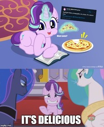 Size: 500x609 | Tagged: safe, artist:jhayarr23, edit, edited screencap, screencap, princess celestia, princess luna, starlight glimmer, alicorn, pony, unicorn, a royal problem, eating, everything is ruined, food, pineapple pizza, pizza, pure unfiltered evil, that pony sure does love pineapple pizza