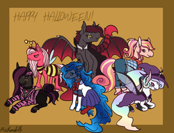 Size: 1786x1362 | Tagged: animal costume, artist:misskanabelle, bat pony, bat pony oc, bee costume, changepony, clothes, costume, cowboy, earth pony, female, halloween, halloween costume, happy halloween, hat, holiday, hybrid, interspecies offspring, magical lesbian spawn, male, mare, oc, oc:charmeuse culicivora, oc:morpheus, oc:nova nightshade, oc only, oc:sugar bee, oc:sundance, oc:violet vivanite, offspring, parent:big macintosh, parent:fluttershy, parent:king sombra, parent:maud pie, parent:mud briar, parent:princess celestia, parent:princess luna, parent:queen chrysalis, parents:chryslestia, parents:fluttermac, parents:lumbra, parents:maudbriar, pegasus, pony, safe, sailor moon, signature, stallion, unicorn, vampire, witch, witch hat