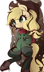Size: 532x868 | Tagged: safe, artist:tohupo, applejack, earth pony, pony, bipedal, boots, clothes, coat, cowboy hat, female, hat, leggings, mare, scarf, shoes, snow, snowfall, solo