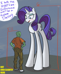 """Size: 1575x1919   Tagged: safe, artist:nignogs, rarity, oc, oc:anon, pony, unicorn, /mlp/, 5'11"""" vs 6'0"""", amazon, big pony, blushing, cutie mark, darling, dialogue, female, high horse, horse sized pony, lidded eyes, long legs, manlet, mare, open mouth, size difference, smiling, smirk, speech bubble, tall, text, wat, weird"""
