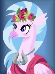 Size: 1039x1400 | Tagged: amulet, amulet of aurora, artist:cloudyglow, bust, female, flower, hippogriff, jewelry, lineless, part of a set, portrait, safe, silverstream