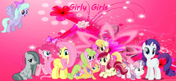 Size: 13640x6344 | Tagged: artist:jawsandgumballfan24, daisy, earth pony, female, filly, flitter, flower trio, flower wishes, fluttershy, foal, girly, girly girl, kettle corn, lily, lily valley, marble pie, mare, pegasus, pinkie pie, pony, rarity, roseluck, safe, sweetie belle, unicorn